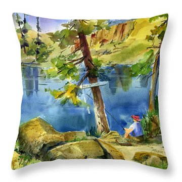 Salmon Lake Fisherman Throw Pillow
