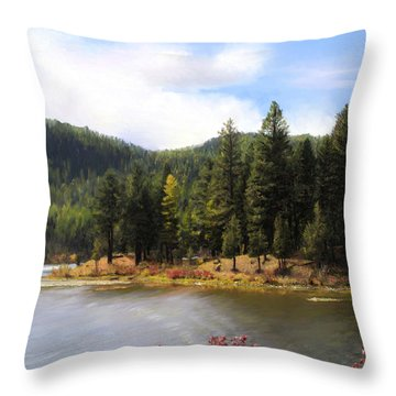 Salmon Lake Montana Throw Pillow by Susan Kinney