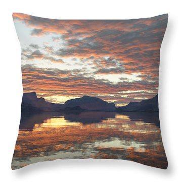 Throw Pillow featuring the digital art Salmon Lake Sunset by Mark Greenberg