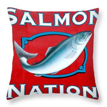 Salmon Nation Throw Pillow