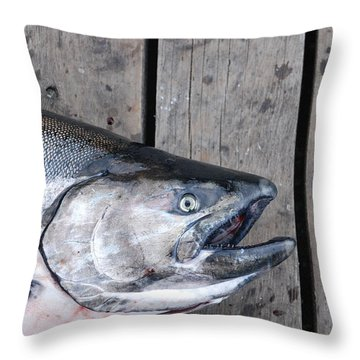Salmon On Deck Throw Pillow