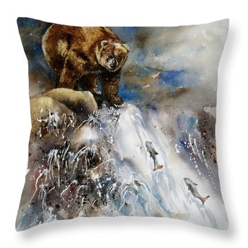 Throw Pillow featuring the painting Salmon Run by Mary McCullah