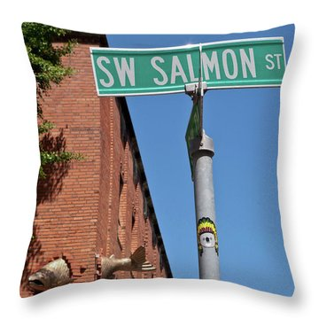 Salmon Through A Building Throw Pillow