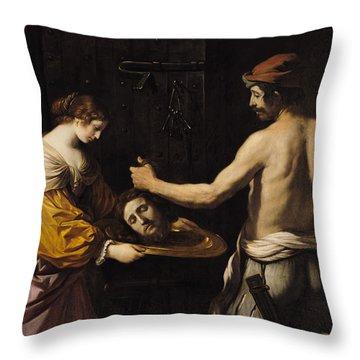 Salome Receiving The Head Of St John The Baptist Throw Pillow by Giovanni Francesco Barbieri