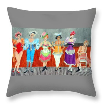 Saloon Sextet -- Portrait 1890's Women In Old West Throw Pillow