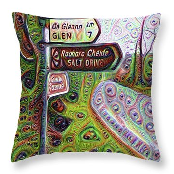 Salt Drive Road Sign - Donegal Ireland Throw Pillow by Bill Cannon