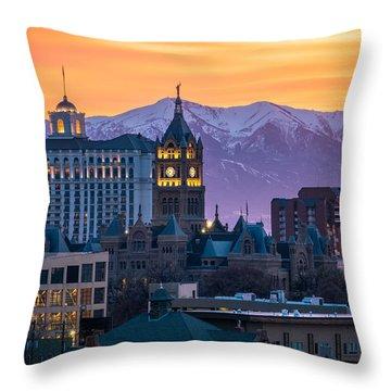 Salt Lake City Hall At Sunset Throw Pillow