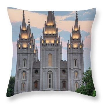 Throw Pillow featuring the photograph Salt Lake City Temple Morning by Dustin  LeFevre