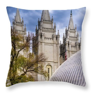 Throw Pillow featuring the photograph Salt Lake Lds Temple And Tabernacle - Utah by Gary Whitton