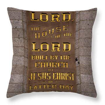 Salt Lake Lds Temple Dedication Plaque Close-up Throw Pillow