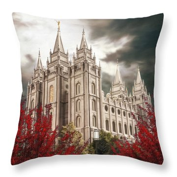 Salt Lake Temple - A Light In The Storm - Cropped Throw Pillow