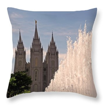 Salt Lake Temple And Fountain Throw Pillow by Rona Black