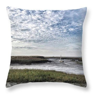 Salt Marsh And Creek, Brancaster Throw Pillow by John Edwards