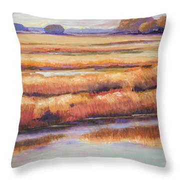 Throw Pillow featuring the painting Salt Marsh In Autumn  by Sally Simon