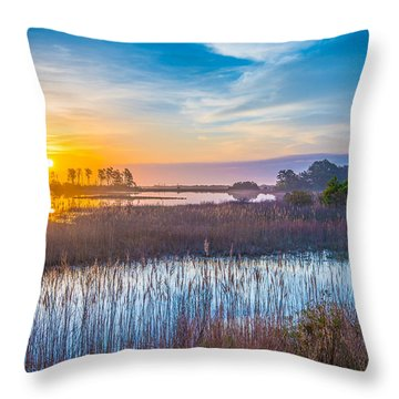 Throw Pillow featuring the photograph Salt Marsh Sunrise II by Steven Ainsworth