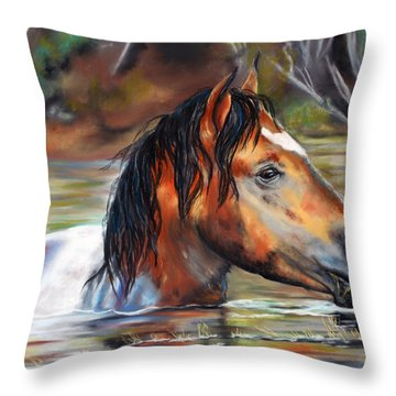 Throw Pillow featuring the pastel Salt River Tango by Karen Kennedy Chatham