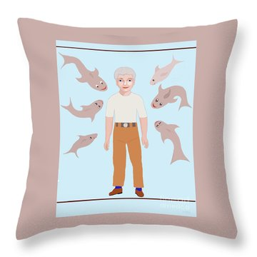 Salt Water Friends Throw Pillow by Fred Jinkins
