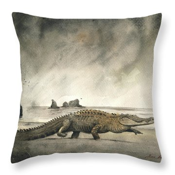 Saltwater Crocodile Throw Pillow