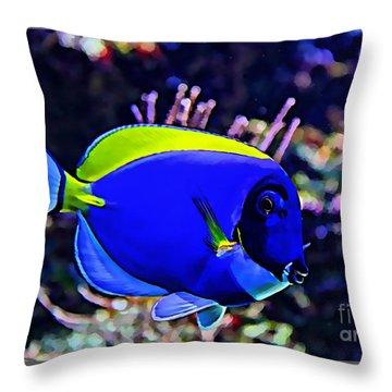 Saltwater Fish Blue Tang Throw Pillow