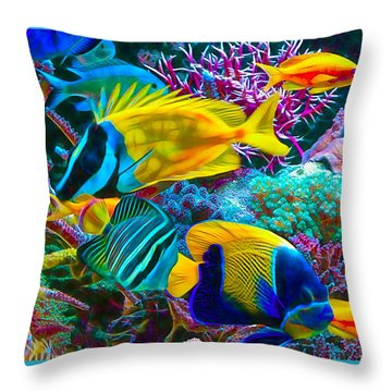 Saltwater Fish Collection Throw Pillow by Marvin Blaine