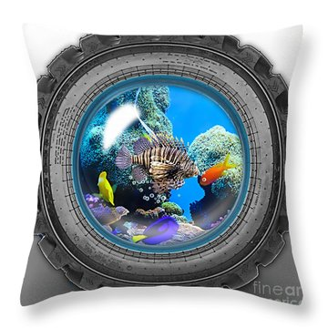 Saltwater Tire Aquarium Throw Pillow by Marvin Blaine