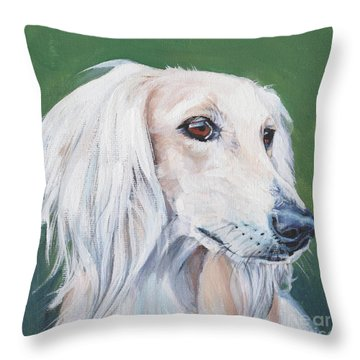 Throw Pillow featuring the painting Saluki Sighthound by Lee Ann Shepard