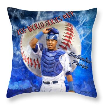 Salvador Perez 2015 World Series Mvp Throw Pillow by Colleen Taylor