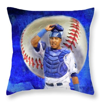 Throw Pillow featuring the mixed media Salvador Perez-kc Royals by Colleen Taylor