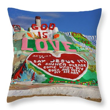 Throw Pillow featuring the photograph Salvation Mountain by Matthew Bamberg