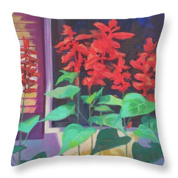Salvia In The Windowbox Throw Pillow by Carol Strickland