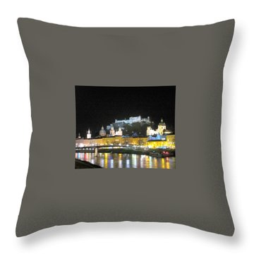 Salzburg At Night Throw Pillow by Betty Buller Whitehead