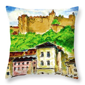 Salzburg Austria Jgibney The Museum Throw Pillow by The MUSEUM Artist Series jGibney