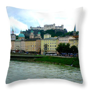 Salzburg Over The Danube Throw Pillow by Carol Groenen