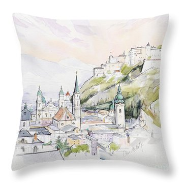 Salzburg Sunrise  Throw Pillow by Clive Metcalfe