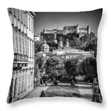 Salzburg Wonderful View To Salzburg Fortress Monochrome Throw Pillow