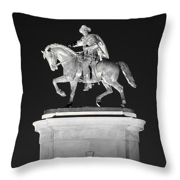Sam Houston - Black And White Throw Pillow