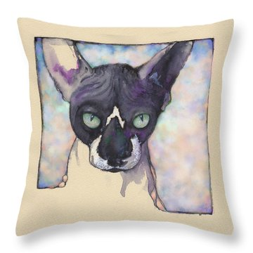 Throw Pillow featuring the mixed media Sam The Sphynx by Lora Serra