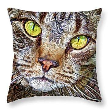 Sam The Tabby Cat Throw Pillow