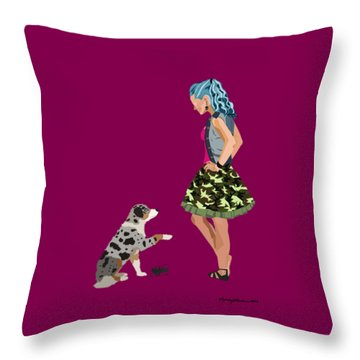 Throw Pillow featuring the digital art Samantha by Nancy Levan