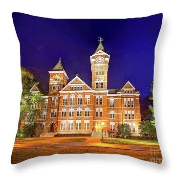 Samford Hall At Night Throw Pillow