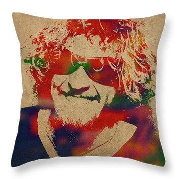 Sammy Hagar Van Halen Watercolor Portrait Throw Pillow