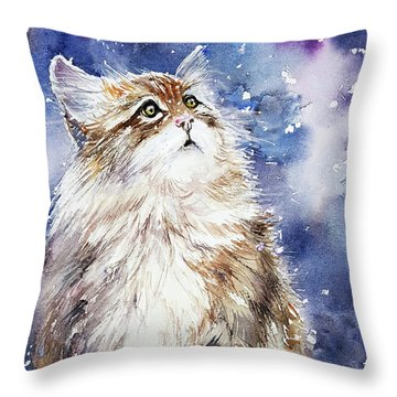 Sammy On Snow Throw Pillow