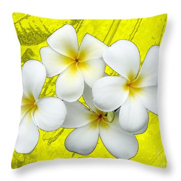 Samoan Frangrapani Throw Pillow by Karen Lewis