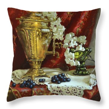 Samovar And Cherry Blossoms Throw Pillow