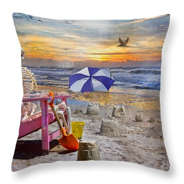 Sam's  Sandcastles Throw Pillow by Betsy Knapp