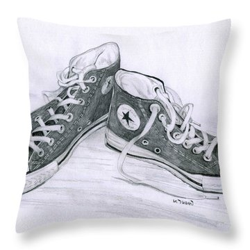 Sam's Shoes Throw Pillow by Mary Tuomi