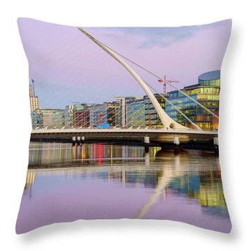 Samuel Beckett Bridge At Dusk Throw Pillow