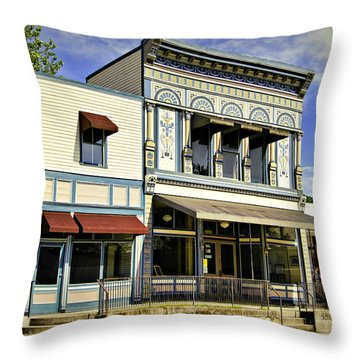 Samuel Hackmann Building Throw Pillow by Cricket Hackmann