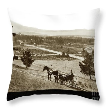 Throw Pillow featuring the photograph Samuel J. Duckworth Pauses To Look Upon What Would Become Carmel 1890 by California Views Archives Mr Pat Hathaway Archives