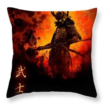 Samurai Bushido Warrior Throw Pillow